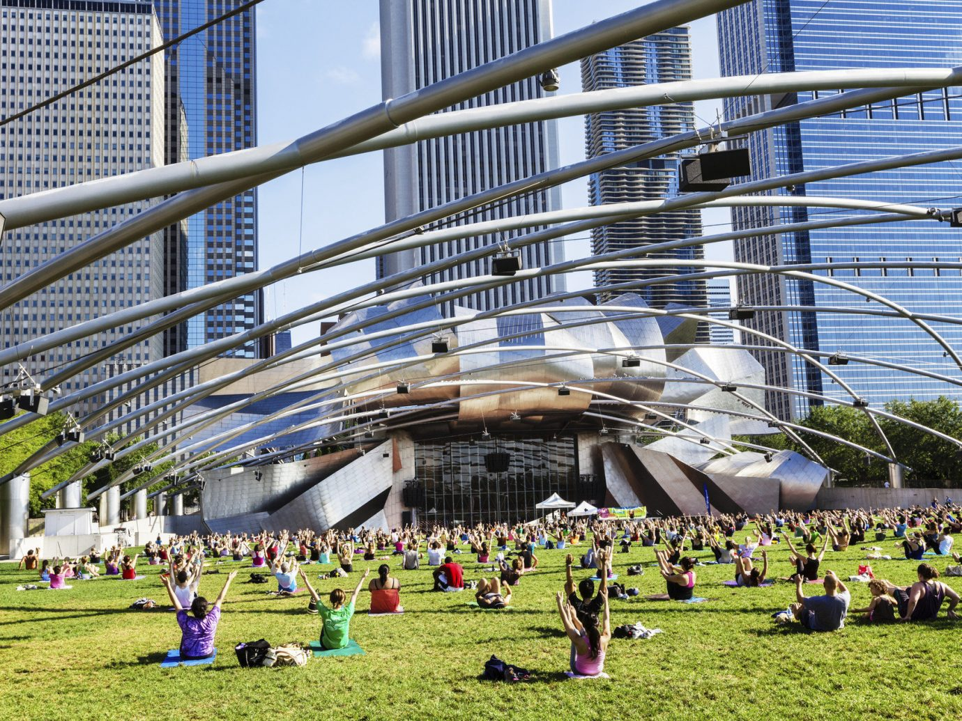 Jay Pritzker Pavilion Trip Ideas grass outdoor building City field neighbourhood residential area people stadium arena day