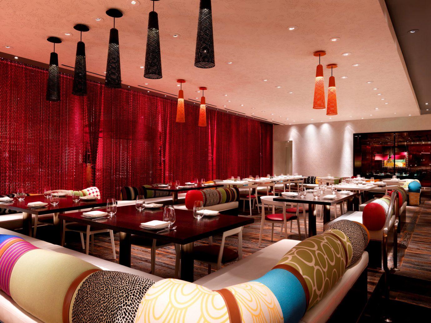 Food + Drink indoor restaurant room Bar interior design meal function hall furniture several