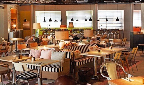 Hotels table indoor floor restaurant chair room meal café Dining cafeteria interior design brunch function hall area