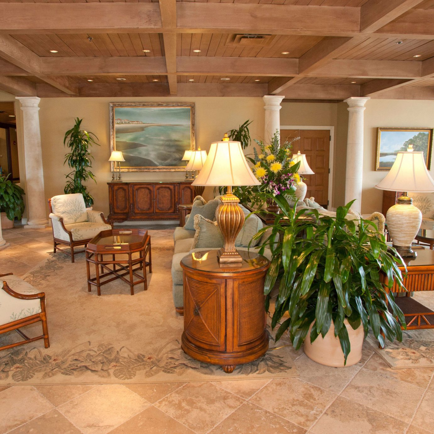 Lobby property chair living room home hardwood Suite cottage Villa mansion Resort flooring farmhouse stone