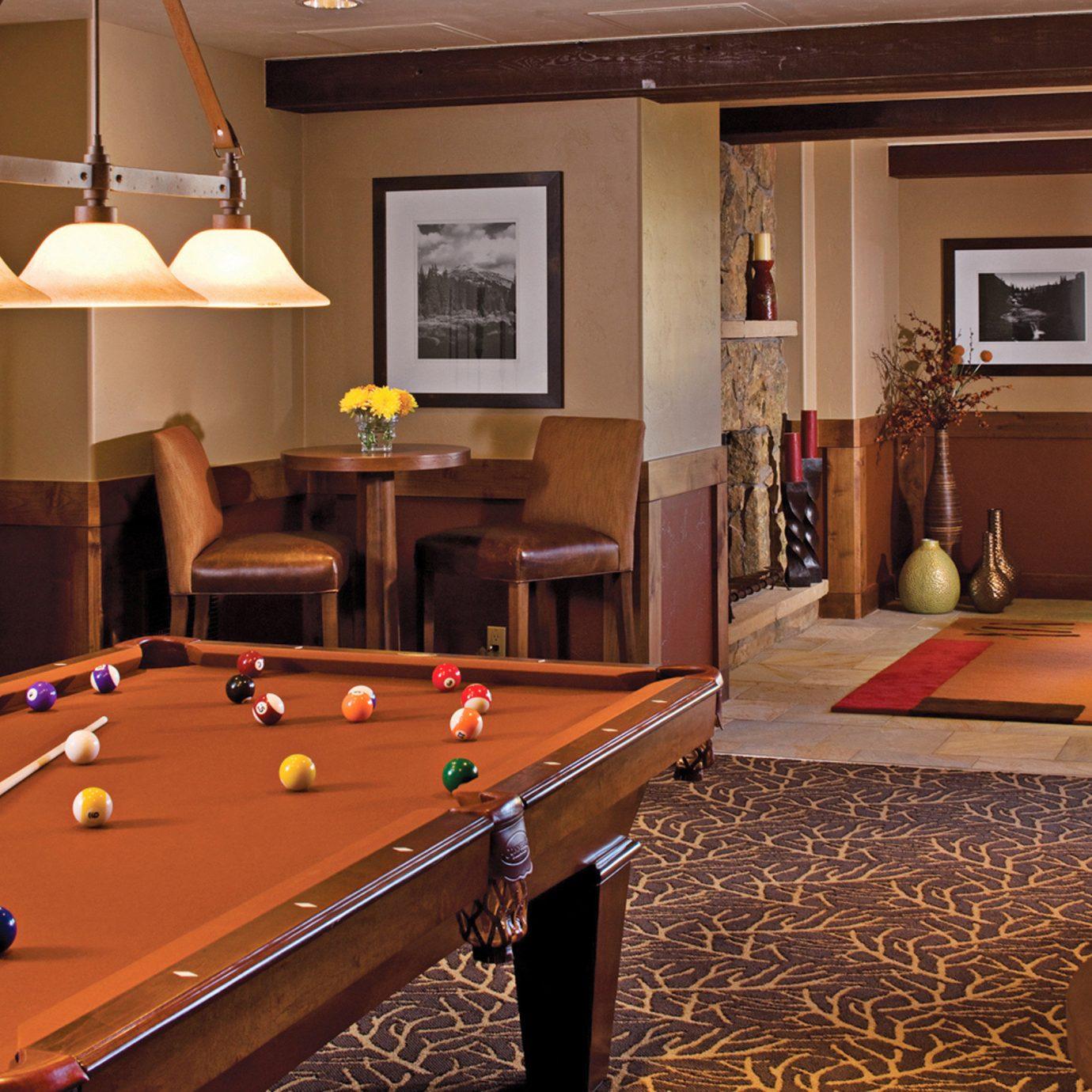 Lodge Lounge Rustic billiard room recreation room pool table poolroom hardwood billiard table living room indoor games and sports