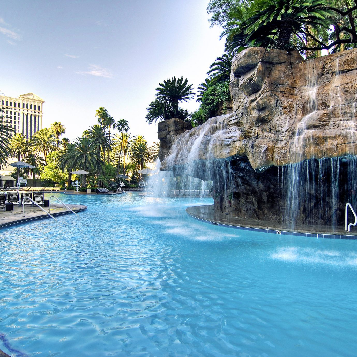 Lounge Luxury Modern Pool tree Nature water swimming pool Waterfall water feature Resort resort town surrounded