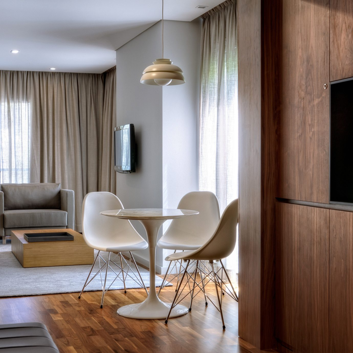 Lounge Modern Suite living room property home hardwood lighting condominium flat dining table