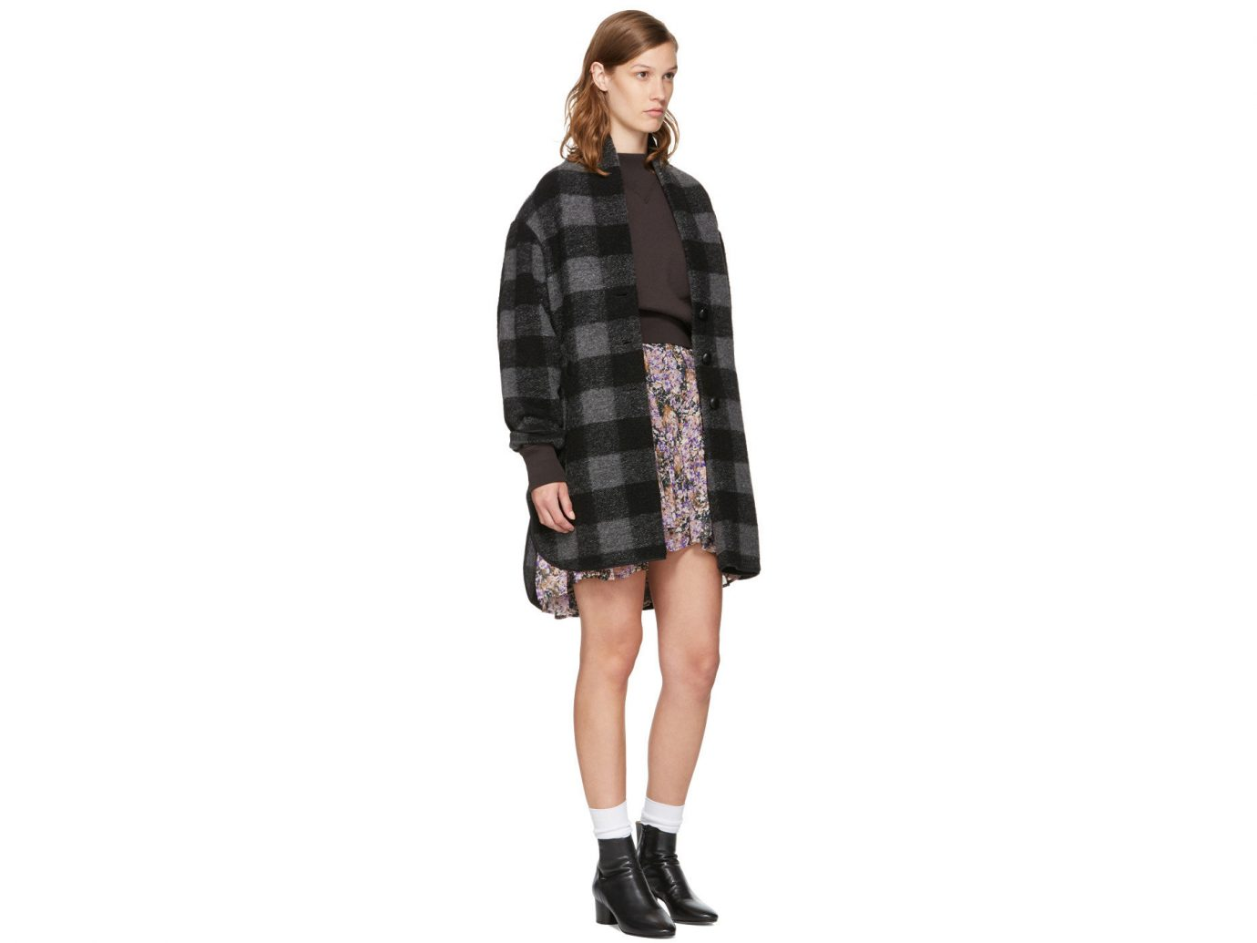 Travel Shop clothing tartan shoulder pattern fashion model plaid Design coat joint sleeve shoe