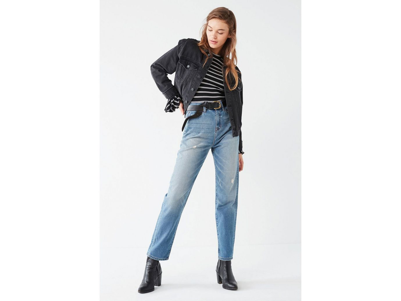 Travel Shop Travel Trends jeans fashion model person denim waist shoulder trousers joint trouser electric blue posing abdomen shoe