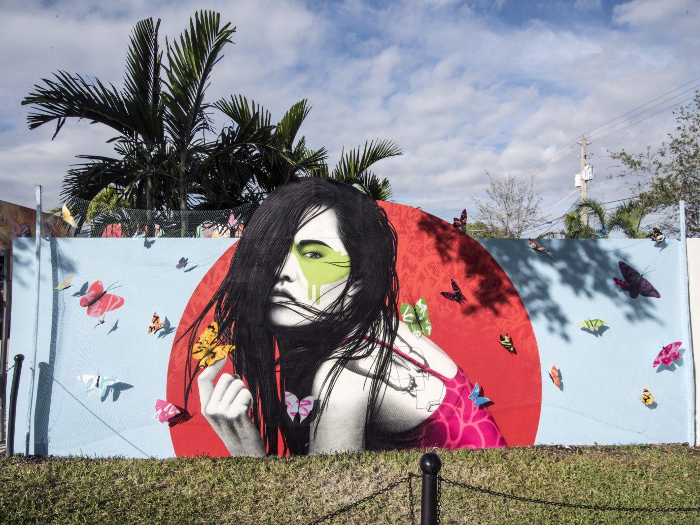 Trip Ideas outdoor tree sky grass color art mural flower graffiti street art
