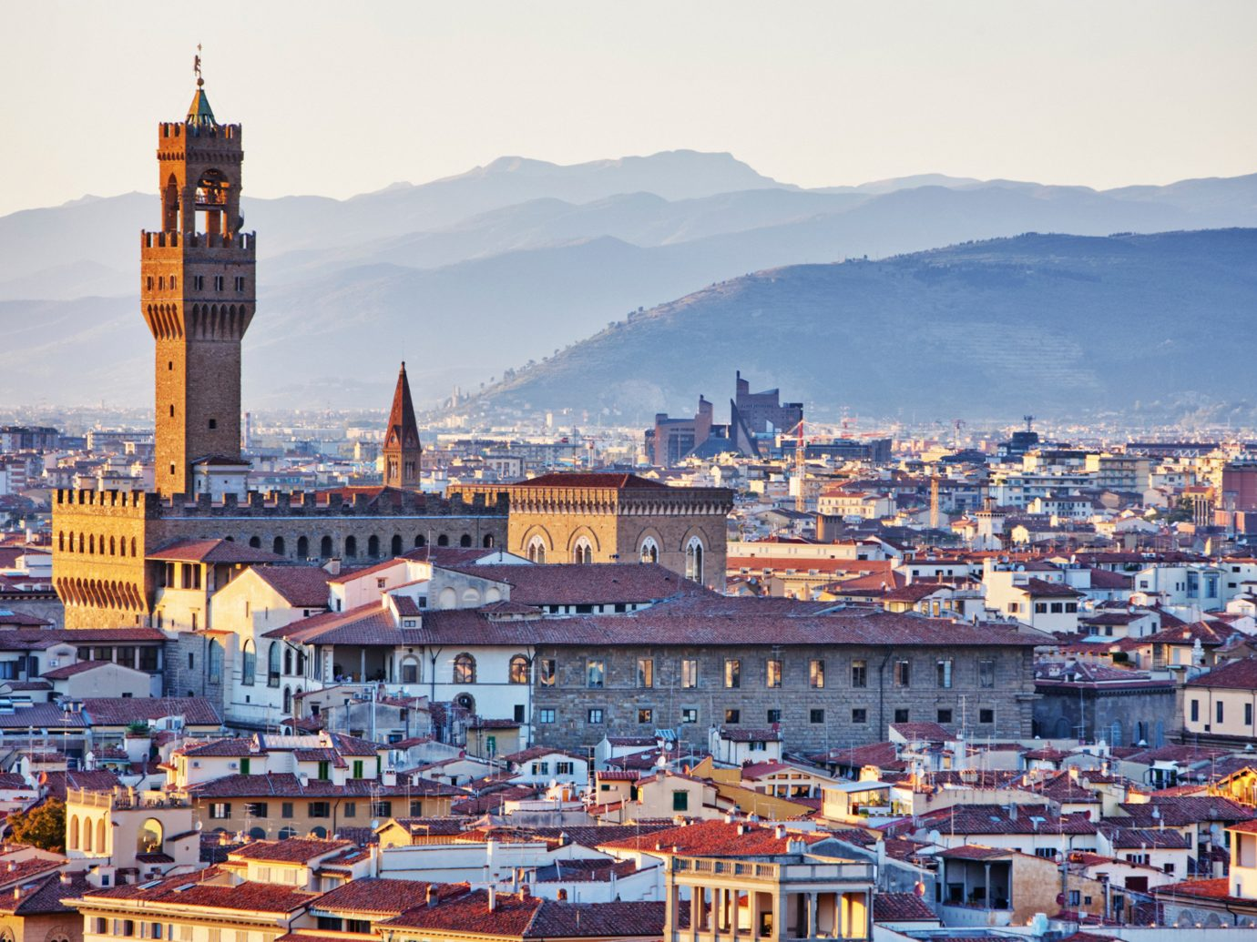 Architecture Buildings Florence Historic Hotels Italy Landmarks Monuments Town outdoor sky scene cityscape Boat Harbor City mountain landmark human settlement skyline vacation evening tourism background tower dusk vehicle Sea panorama
