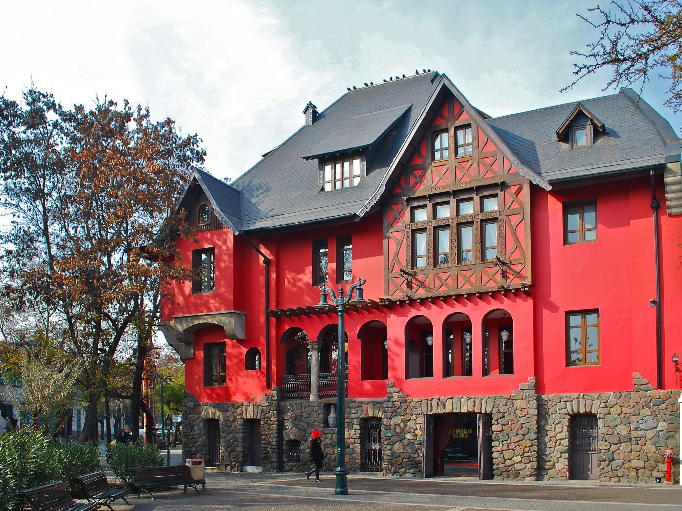 Architecture Boutique Buildings Design Exterior Hotels Romance tree sky outdoor house building Town red neighbourhood facade estate home residential area Downtown old