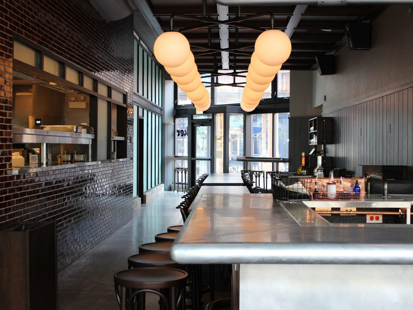 Food + Drink indoor ceiling room property floor interior design home lighting estate Bar restaurant Kitchen Design living room loft Lobby furniture