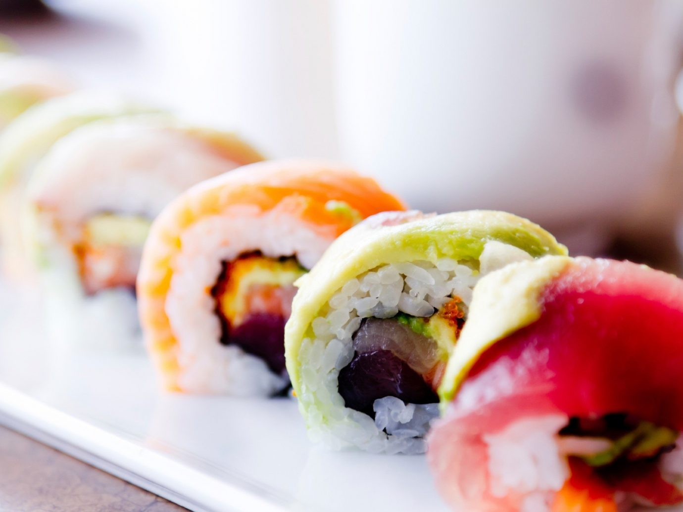 Offbeat dish food sushi indoor cuisine plate gimbap asian food california roll meal japanese cuisine close