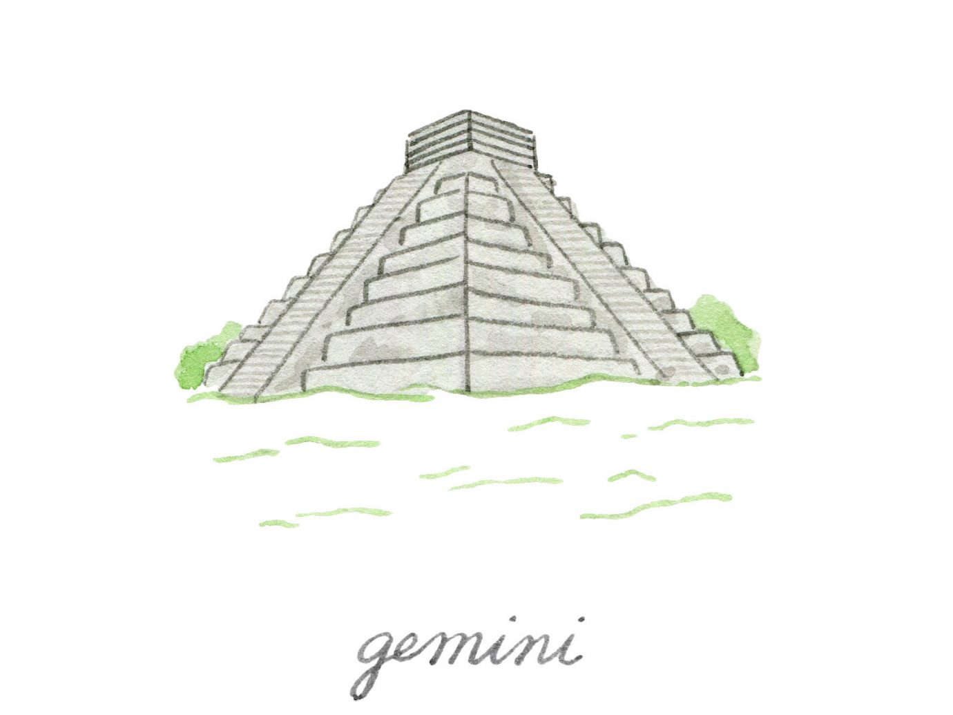 Style + Design monument illustration line sketch drawing pyramid