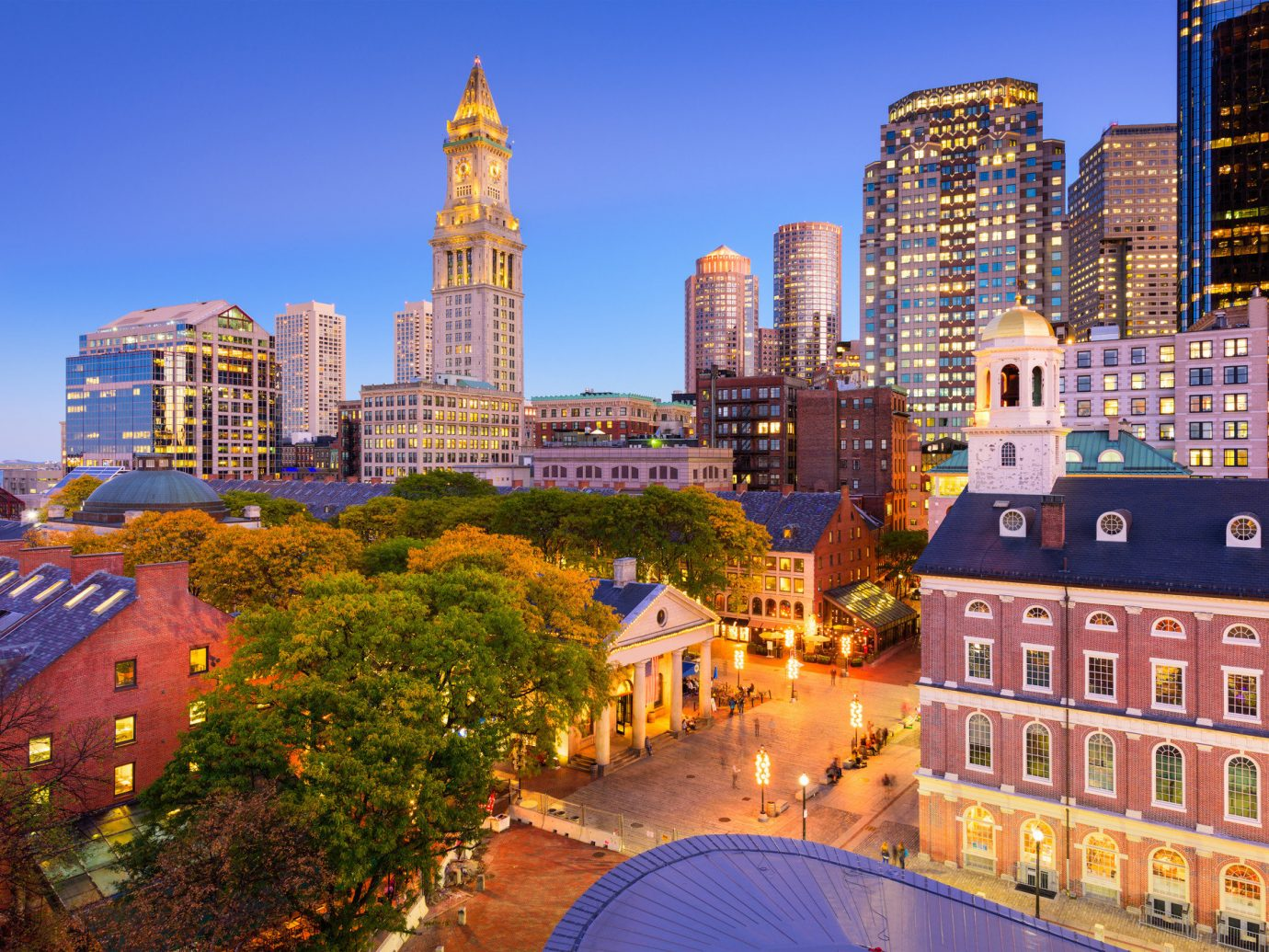 Aerial view of Boston at night.