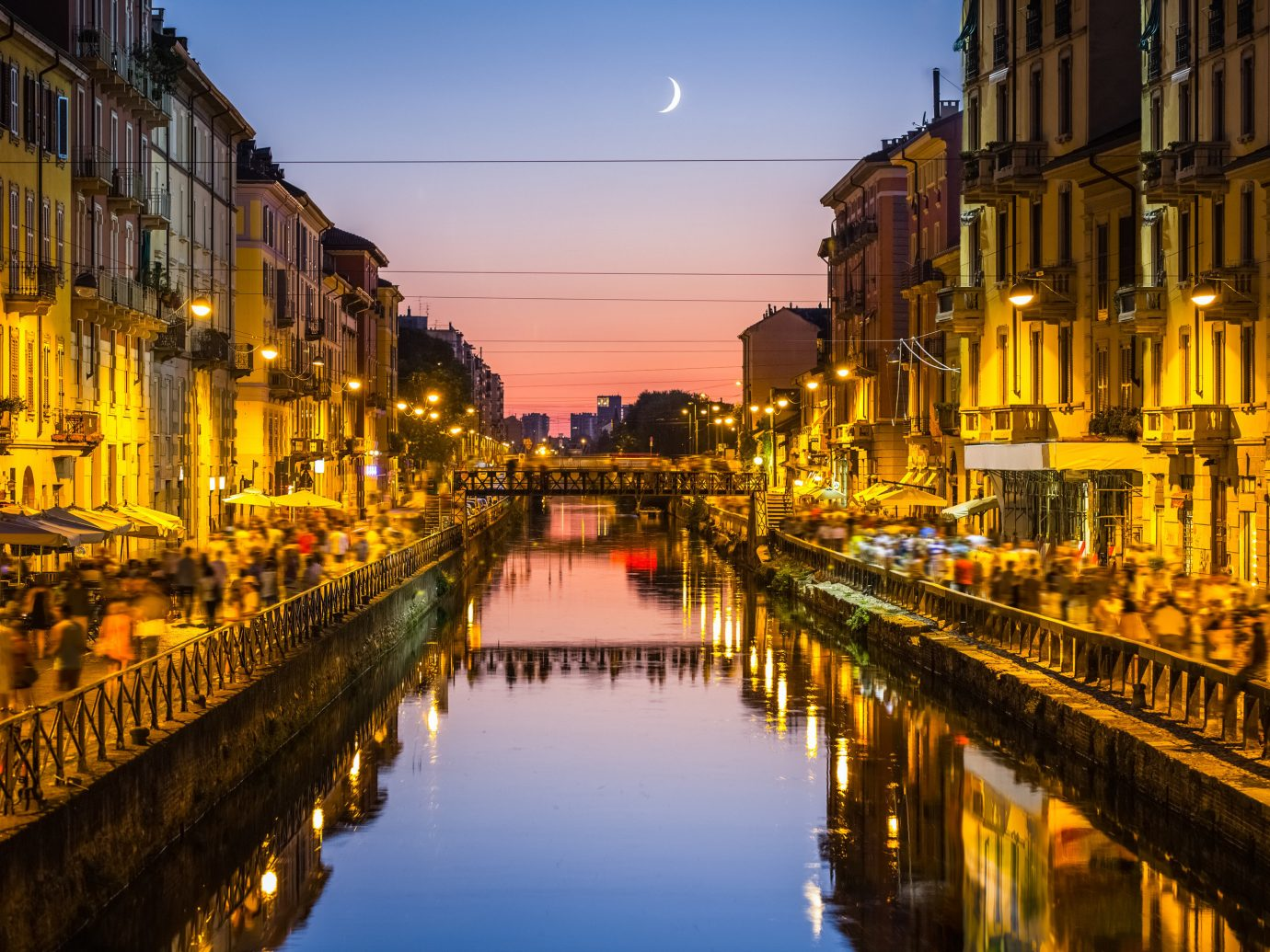 Arts + Culture Italy Milan Trip Ideas waterway reflection Canal body of water City water landmark night Town urban area cityscape sky evening metropolis street tourist attraction channel River