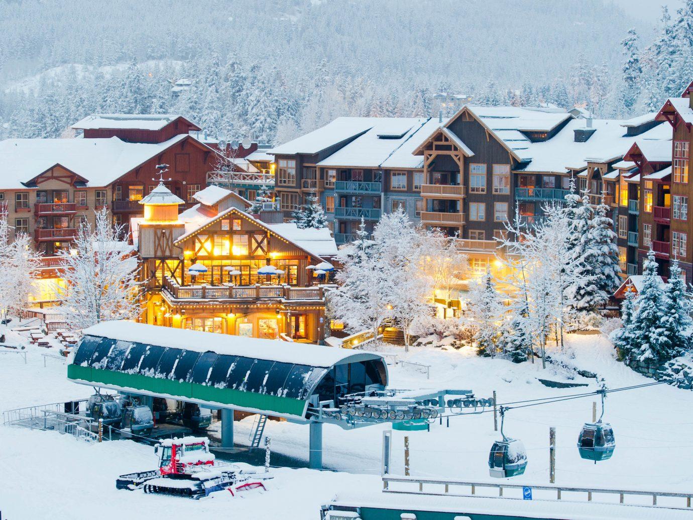 Canada Montreal Toronto Trip Ideas snow outdoor Winter mountain Town house mountain range home residential area tree alps ski resort