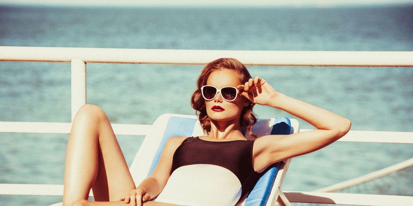 water woman outdoor person photograph clothing photography Beauty swimwear girl eyewear sun tanning glasses swimsuit supermodel photo shoot leg model gravure idol sunglasses beautiful