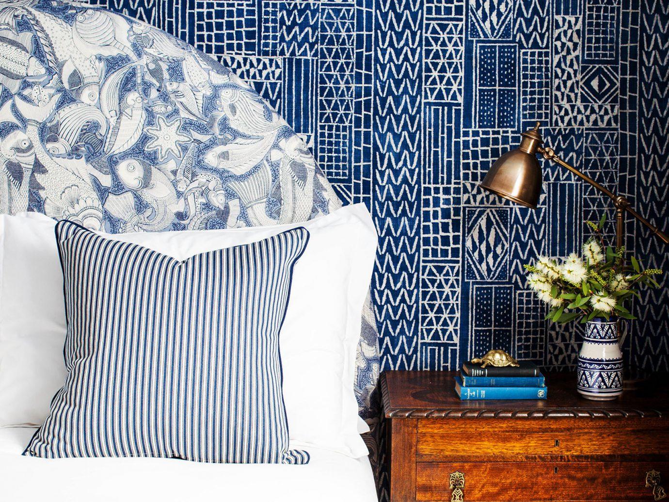 Style + Design indoor blue bed room furniture textile bed sheet interior design Design material pattern