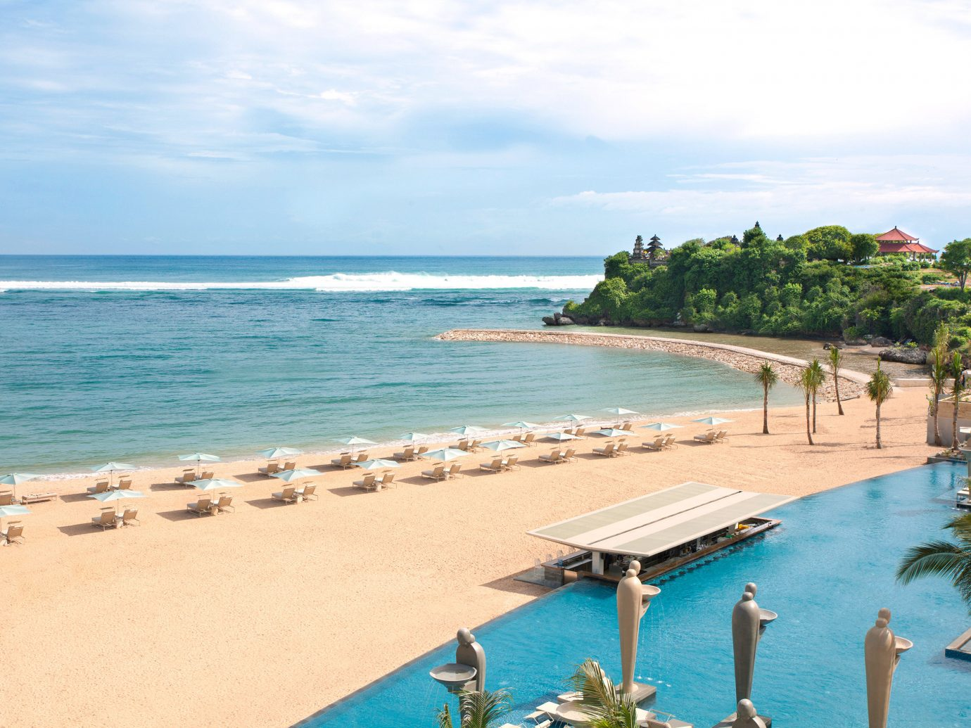 Beach Beachfront Hotels Luxury Ocean Pool Romantic Tropical sky outdoor water umbrella shore body of water Sea vacation Nature caribbean Resort Coast bay cape lawn lined sandy Island day several