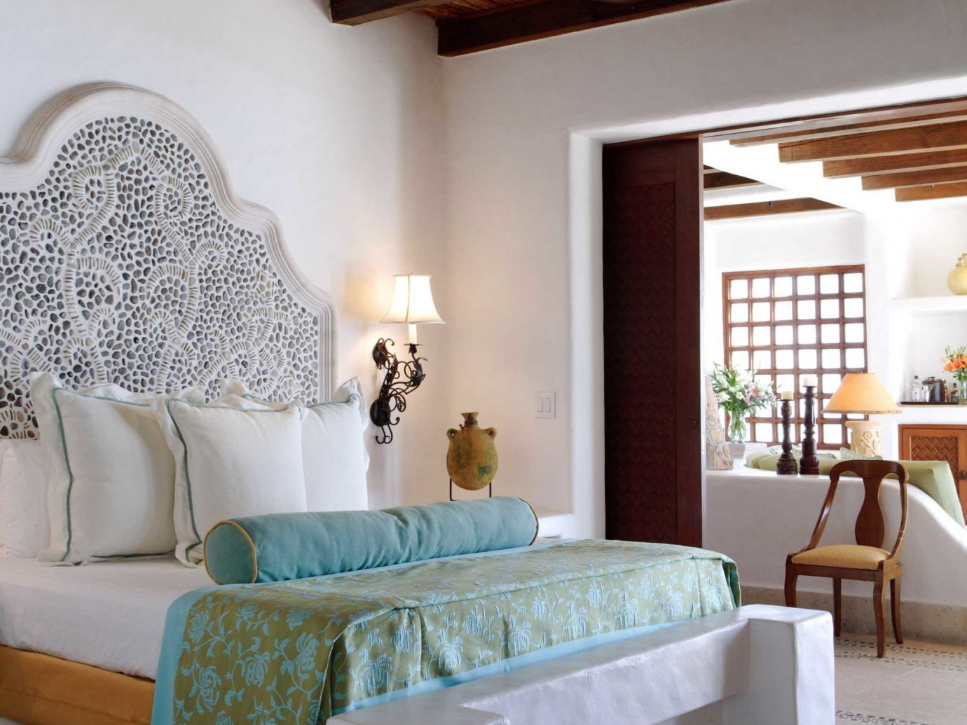 Beach Bedroom Elegant Hip Honeymoon Hotels Luxury Mexico Modern Romance Scenic views Suite Tulum indoor wall floor sofa room Living living room property ceiling home interior design hardwood estate furniture wood farmhouse cottage bed Design decorated area containing