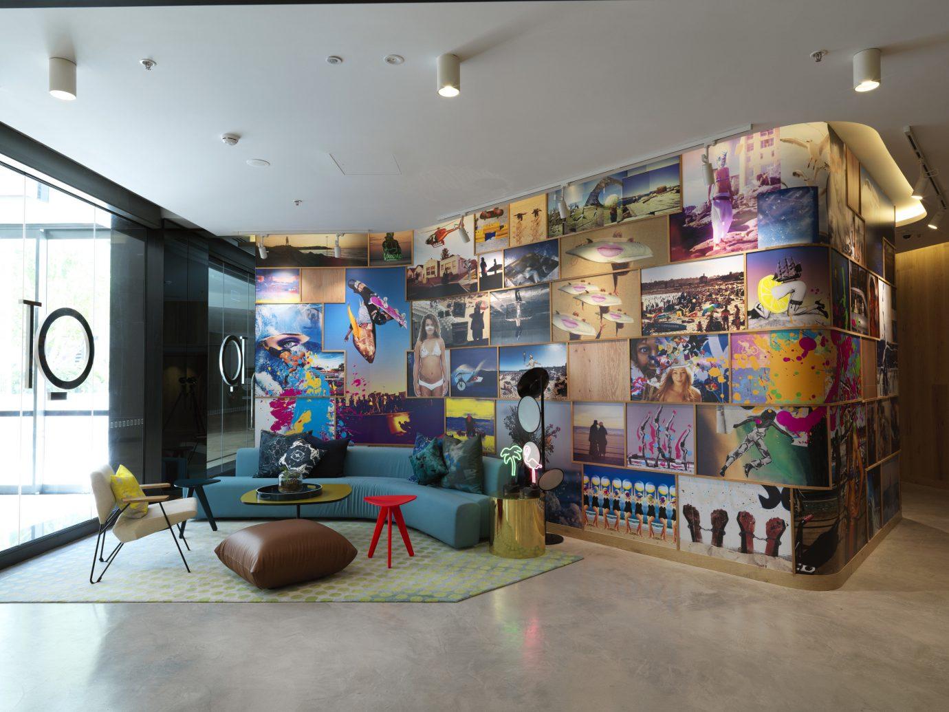 Hotels indoor floor room ceiling art mural interior design tourist attraction decorated