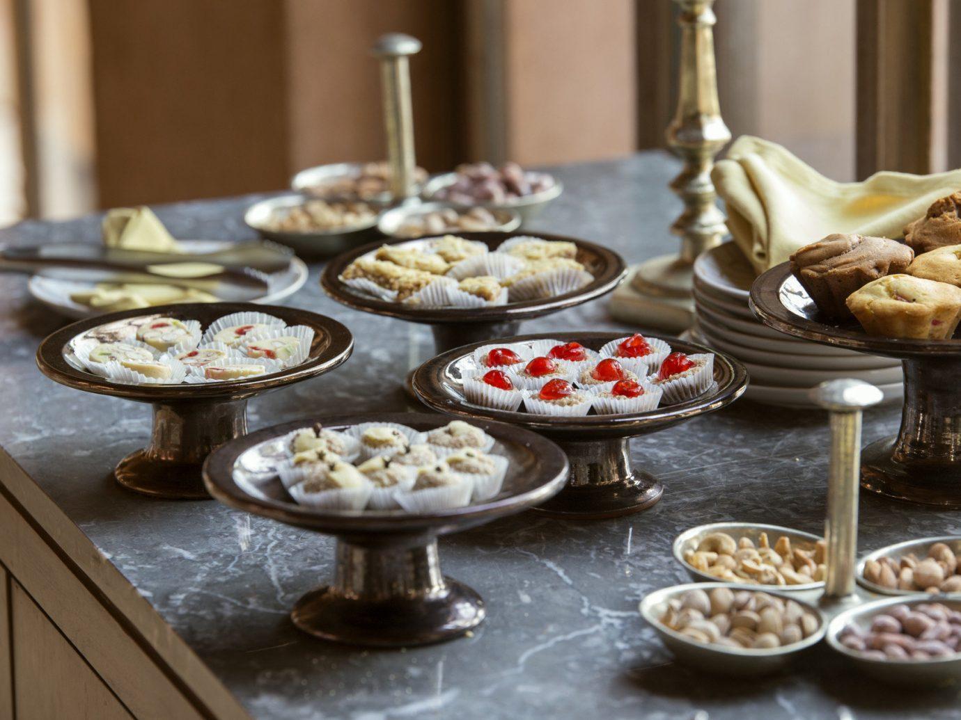 Hotels indoor plate food meal dish counter dessert breakfast buffet baking brunch produce several