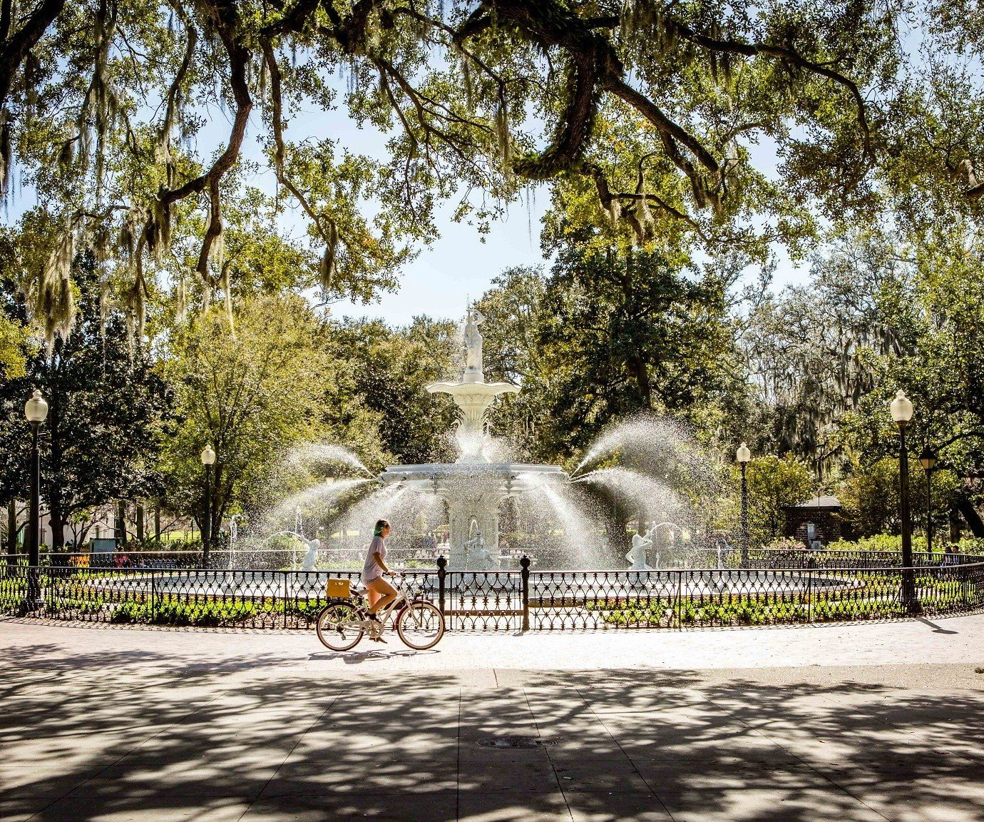 Fountain in a park at Savannah, GA