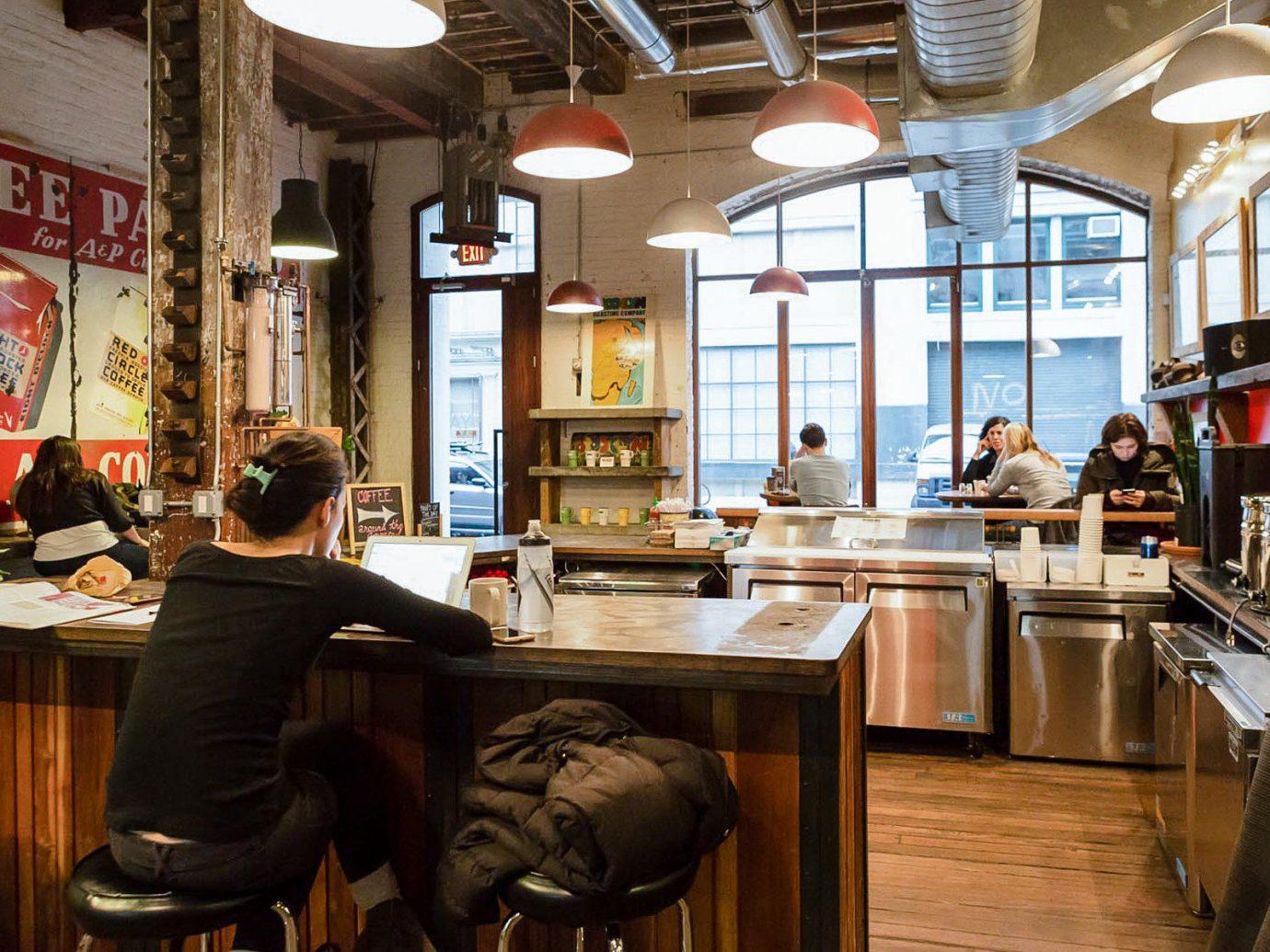 Brooklyn City Food + Drink NYC indoor floor interior design restaurant café coffeehouse area Bar furniture