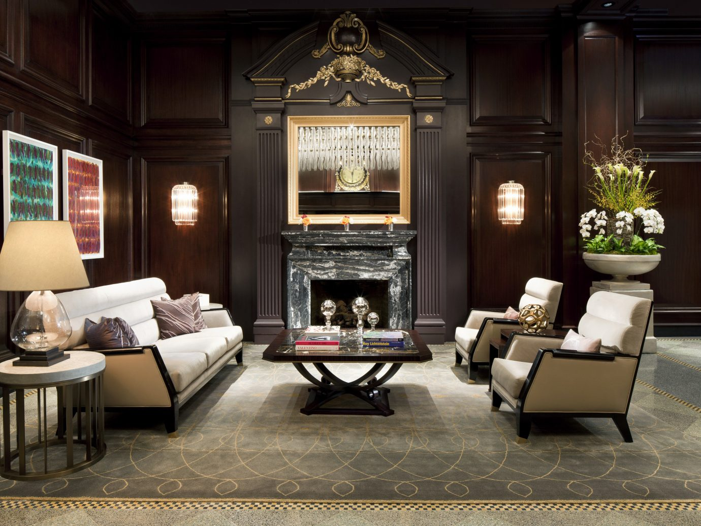 City Classic Fireplace Hotels Lobby Lounge Trip Ideas floor indoor Living living room room property home estate dining room interior design hardwood furniture lighting wood mansion Design Suite table flooring hearth