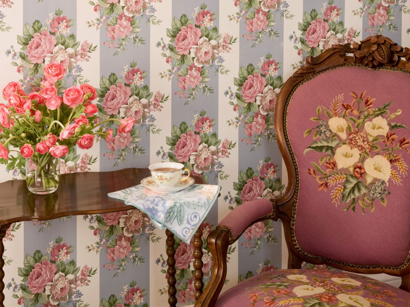 Hotels wall indoor pink room flower interior design art floristry flower arranging textile spring bed sheet curtain living room floral design wallpaper decorated furniture
