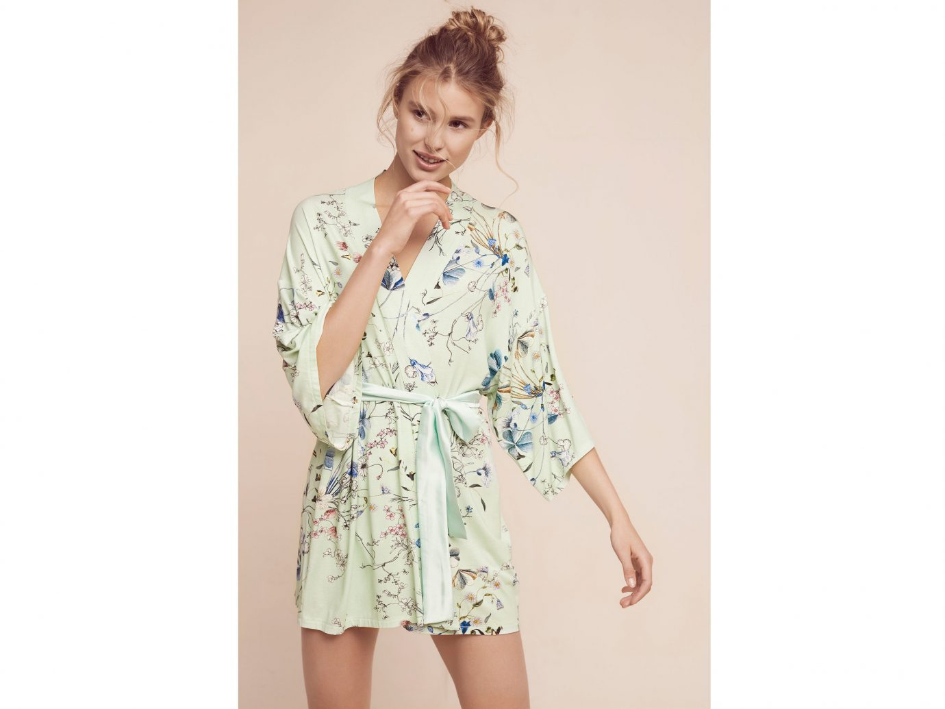 Style + Design clothing person indoor sleeve dress standing girl outerwear spring gown pattern blouse photo shoot textile robe costume Design posing trouser