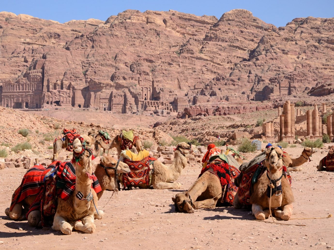 Arts + Culture Landmarks Trip Ideas mountain ground outdoor Camel sky mountainous landforms arabian camel camel like mammal wilderness valley wadi pack animal sand rock canyon tourism livestock landscape geology ecoregion travel badlands aeolian landform Desert vacation plateau Adventure