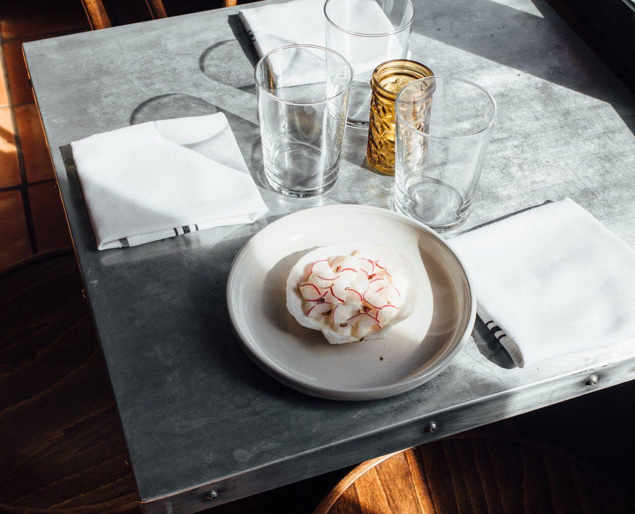 Food + Drink table plate room restaurant meal shape dinner Drink