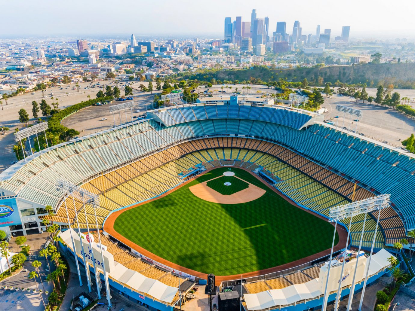 Offbeat sky structure outdoor geographical feature baseball park stadium building bird's eye view sport venue soccer specific stadium baseball field aerial photography City arena colorful