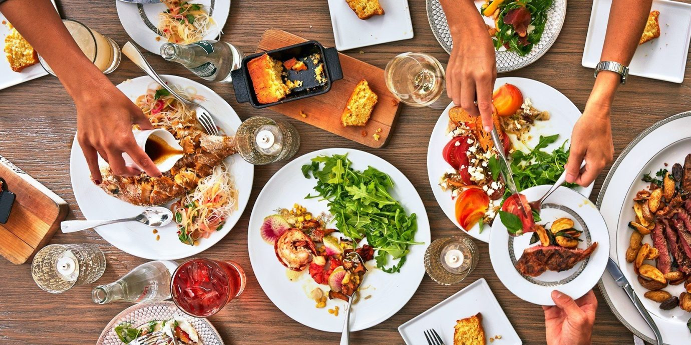 Food + Drink food plate table dish meal cuisine different restaurant lunch produce meat dinner