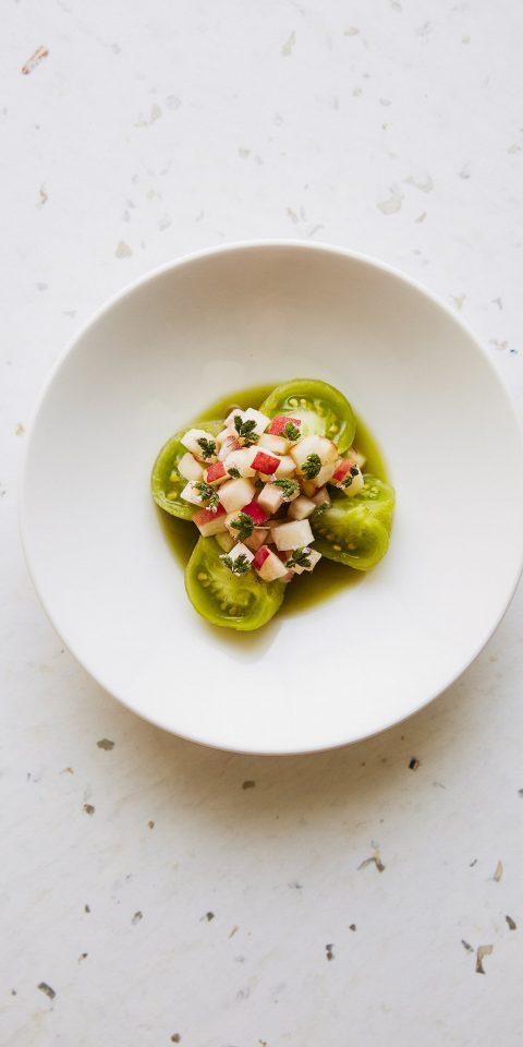 Food + Drink London plate dish dishware food appetizer vegetarian food tableware vegetable recipe