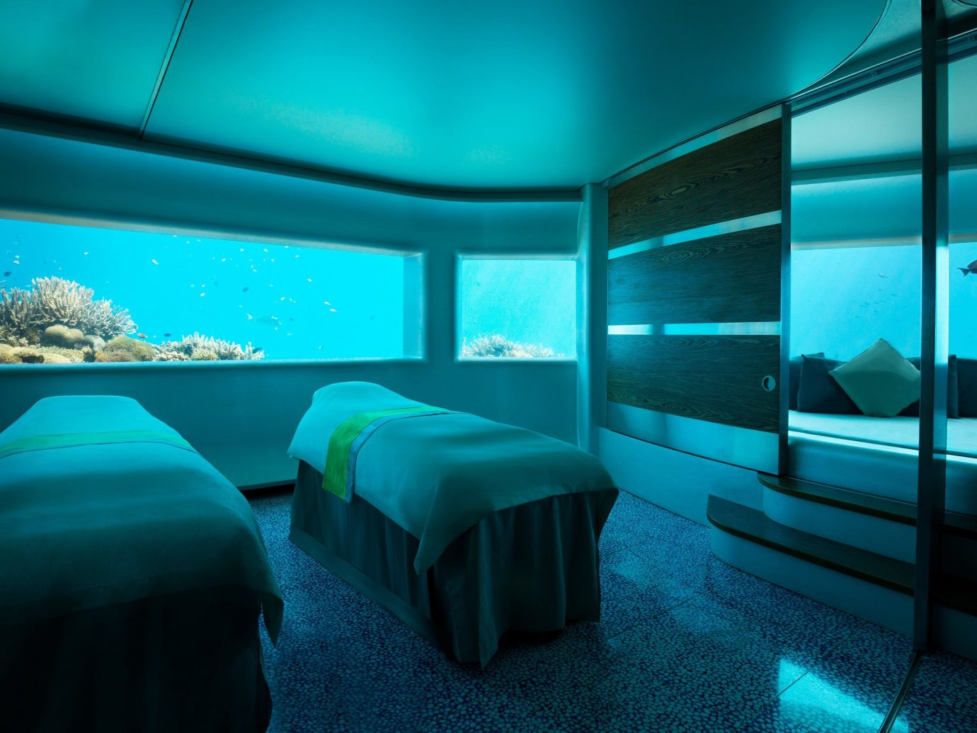 Scuba Diving + Snorkeling Trip Ideas indoor bed window blue room light screenshot lighting interior design underwater computer wallpaper Design scenographer Bedroom