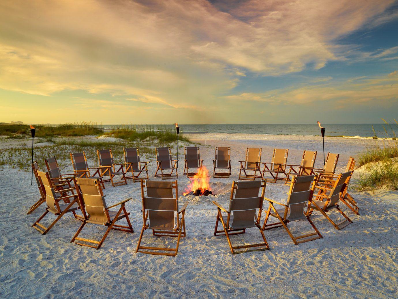 Beach Beachfront Firepit Ocean Trip Ideas sky outdoor chair water shore Sea Nature vacation morning evening Sunset set line