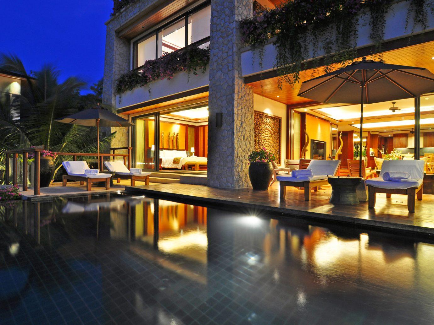 Exterior Hotels Outdoors Patio Pool Suite Terrace Tropical building floor outdoor leisure property Resort swimming pool estate restaurant night Villa