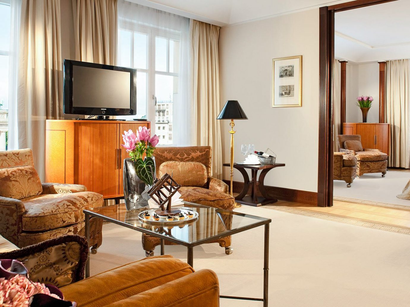 Berlin Boutique Hotels Germany Hotels Luxury Travel indoor floor Living room window wall living room chair Suite interior design furniture real estate home interior designer decorated containing