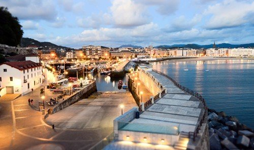 Food + Drink sky outdoor water Town scene tourism Harbor marina port dock waterway Sea panorama several