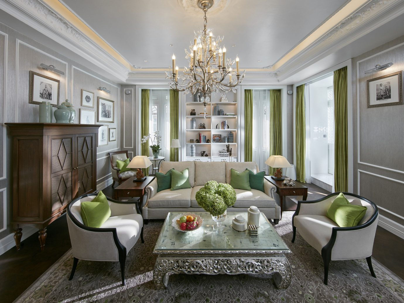 Hotels indoor floor dining room living room room property window estate home green Living interior design hardwood real estate cuisine classique mansion ceiling Design furniture farmhouse