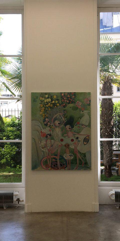 Painting hanging in Galerie Perrotin