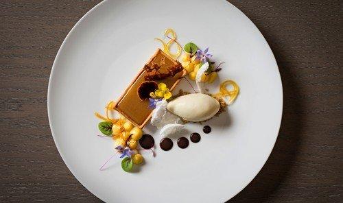Hotels plate table food indoor dish meal white produce breakfast dessert cuisine sliced arranged