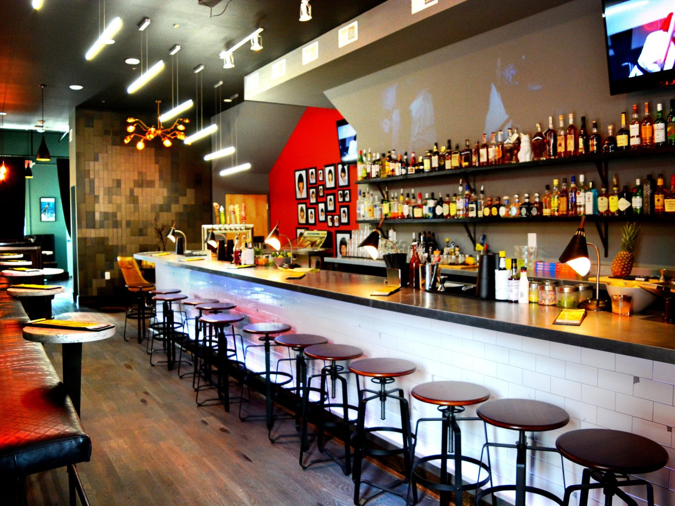 Boutique Hotels Fall Travel Trip Ideas Weekend Getaways indoor floor Bar restaurant interior design ceiling café fast food restaurant liquor store area Island