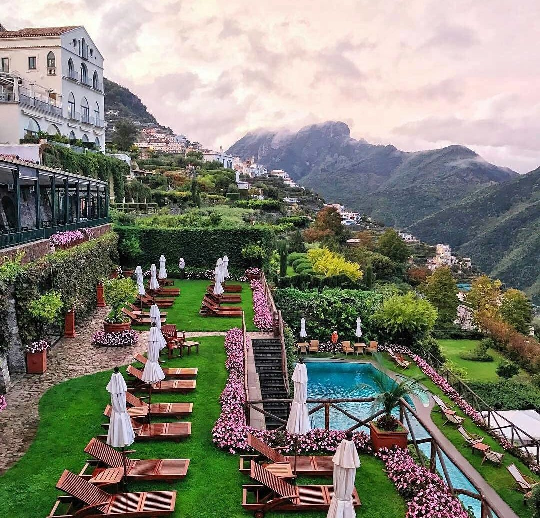 Pool and terraces at Palazzo Avino, Ravello