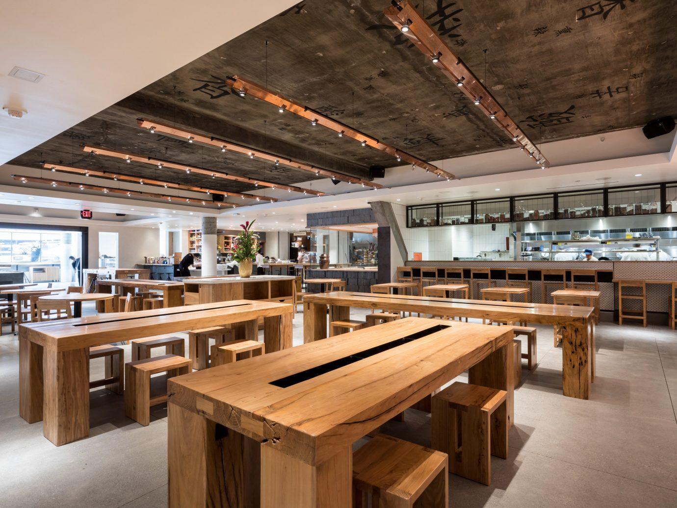 Food + Drink Travel Tips indoor floor table ceiling Kitchen wooden furniture interior design wood restaurant counter