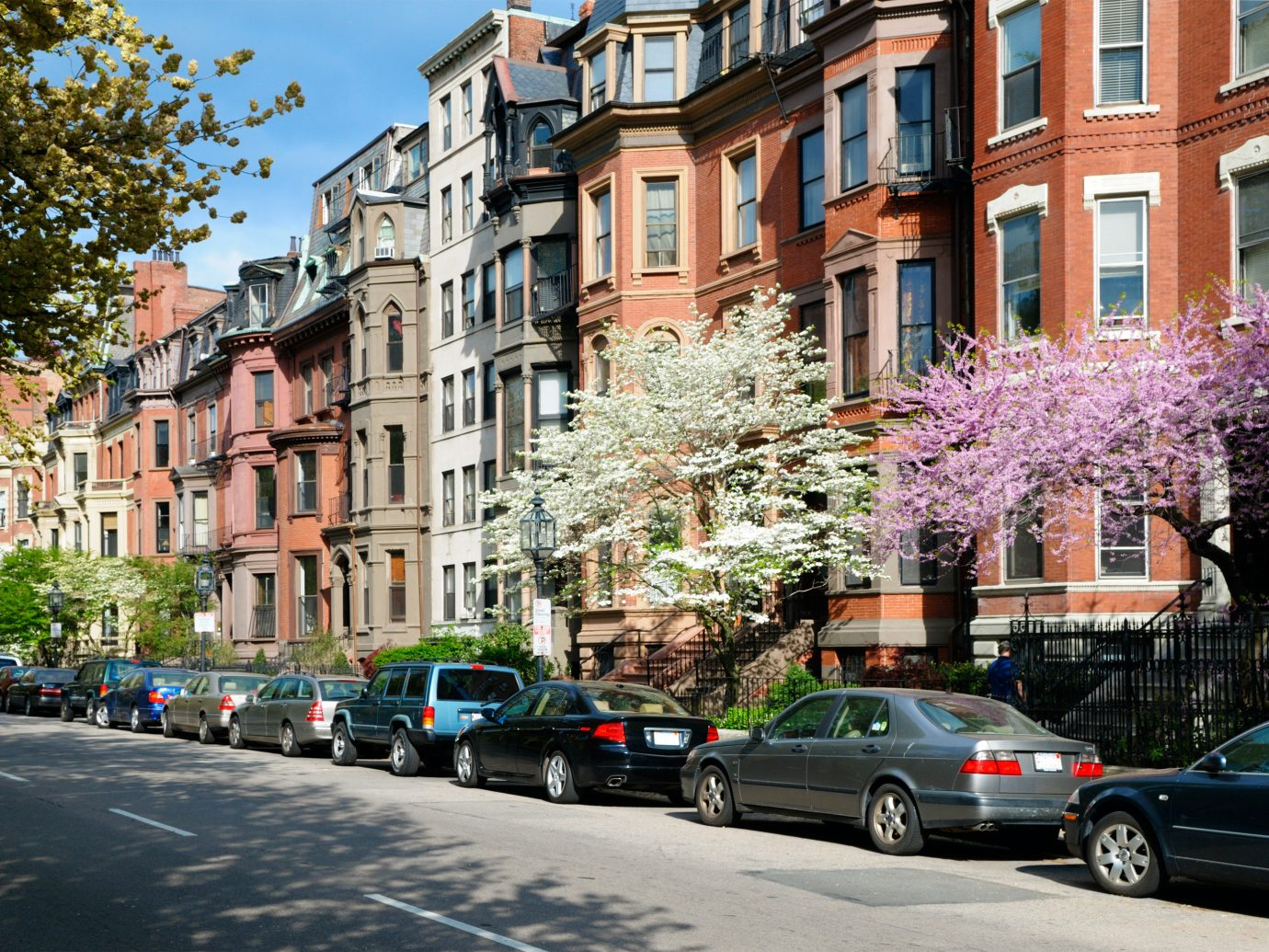 Row of brownstone houses in Boston.