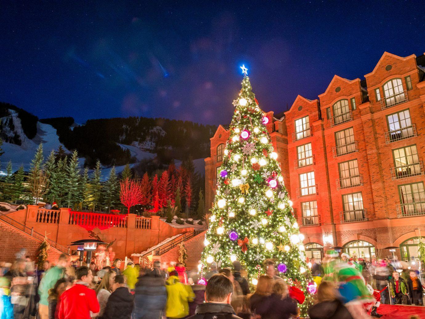 Hotels tree outdoor Christmas Christmas tree christmas decoration holiday Resort crowd line