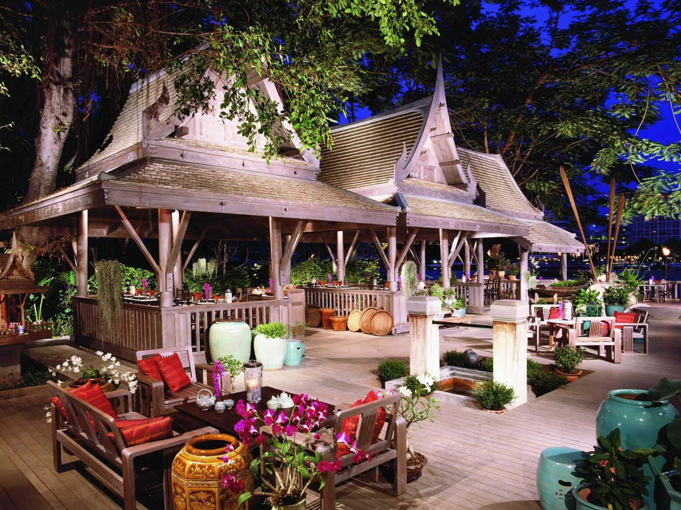 City Drink Eat Hotels Lounge Outdoors Patio Romance Terrace tree outdoor building Resort restaurant estate flower outdoor structure furniture decorated Garden several