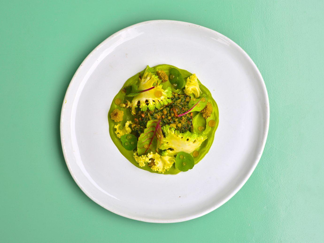 Food + Drink green plate food produce plant land plant leaf fruit sauce vegetable flowering plant