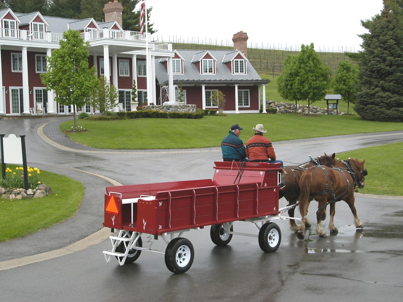 Hotels road outdoor grass sky pulling carriage transport drawn horse and buggy vehicle street red cart horse like mammal Farm horse-drawn vehicle pulled